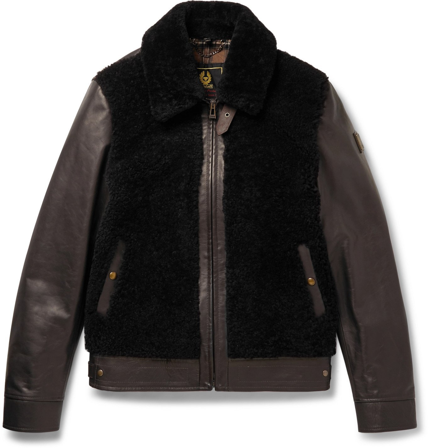 Photo: Belstaff - Grizzly Shearling-Trimmed Padded Leather Jacket - Brown
