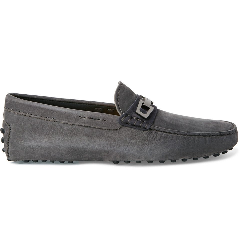 Tod's - Gommino Nubuck Driving Shoes - Men - Anthracite
