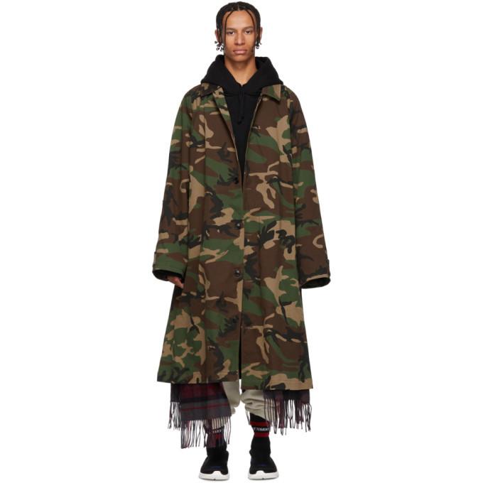 Photo: Vetements Green Camo Scarf Trench Coat