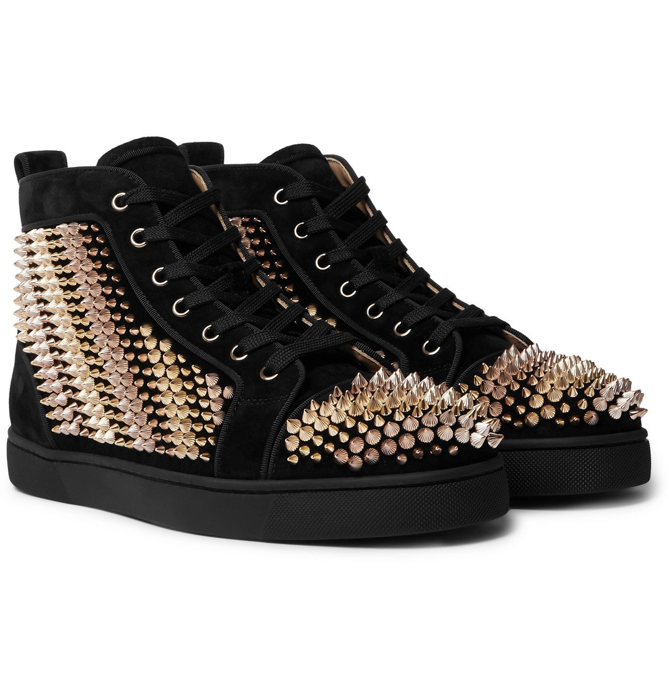Photo: Christian Louboutin - Galvalouis Spikes Suede High-Top Sneakers - Black