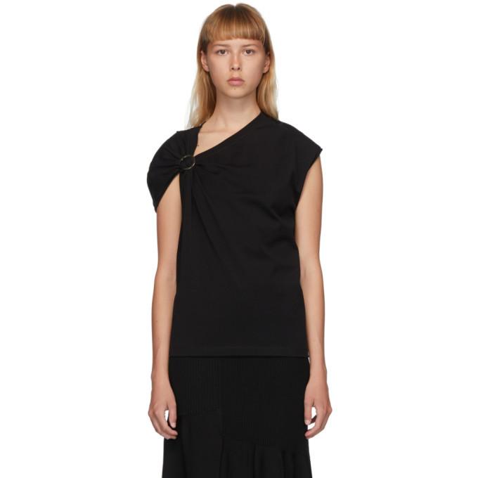 3.1 Phillip Lim Black Gathered Shoulder T-Shirt