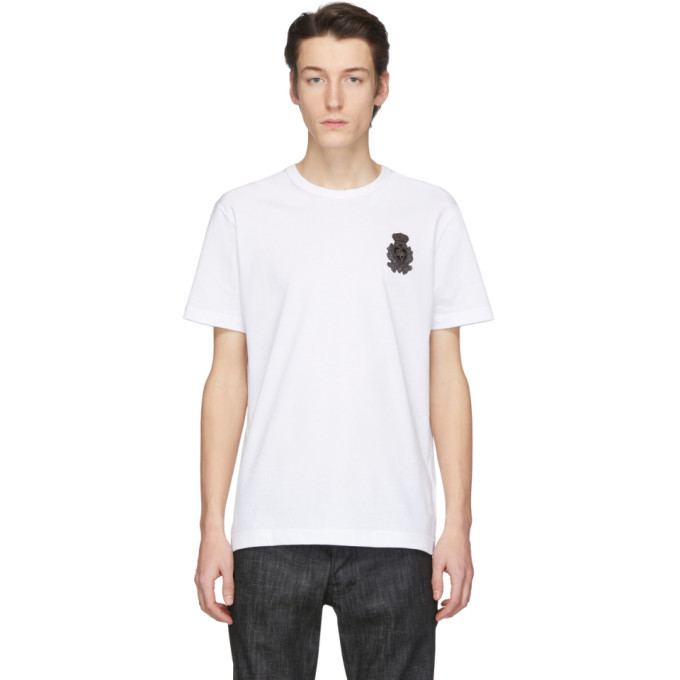 Photo: Dolce and Gabbana White Embroidered Crown Patch T-Shirt