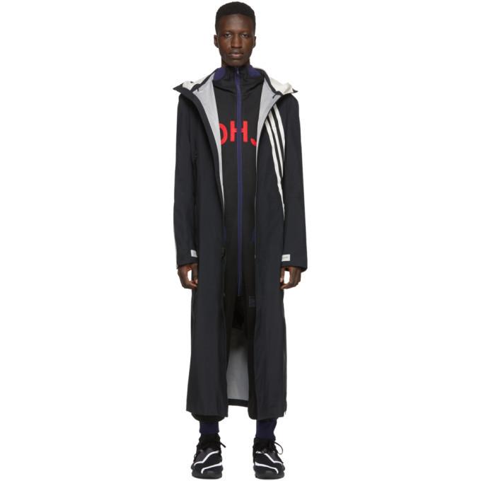 Photo: Y-3 Black and White 3 Stripe GTX Infinium Hooded Coat