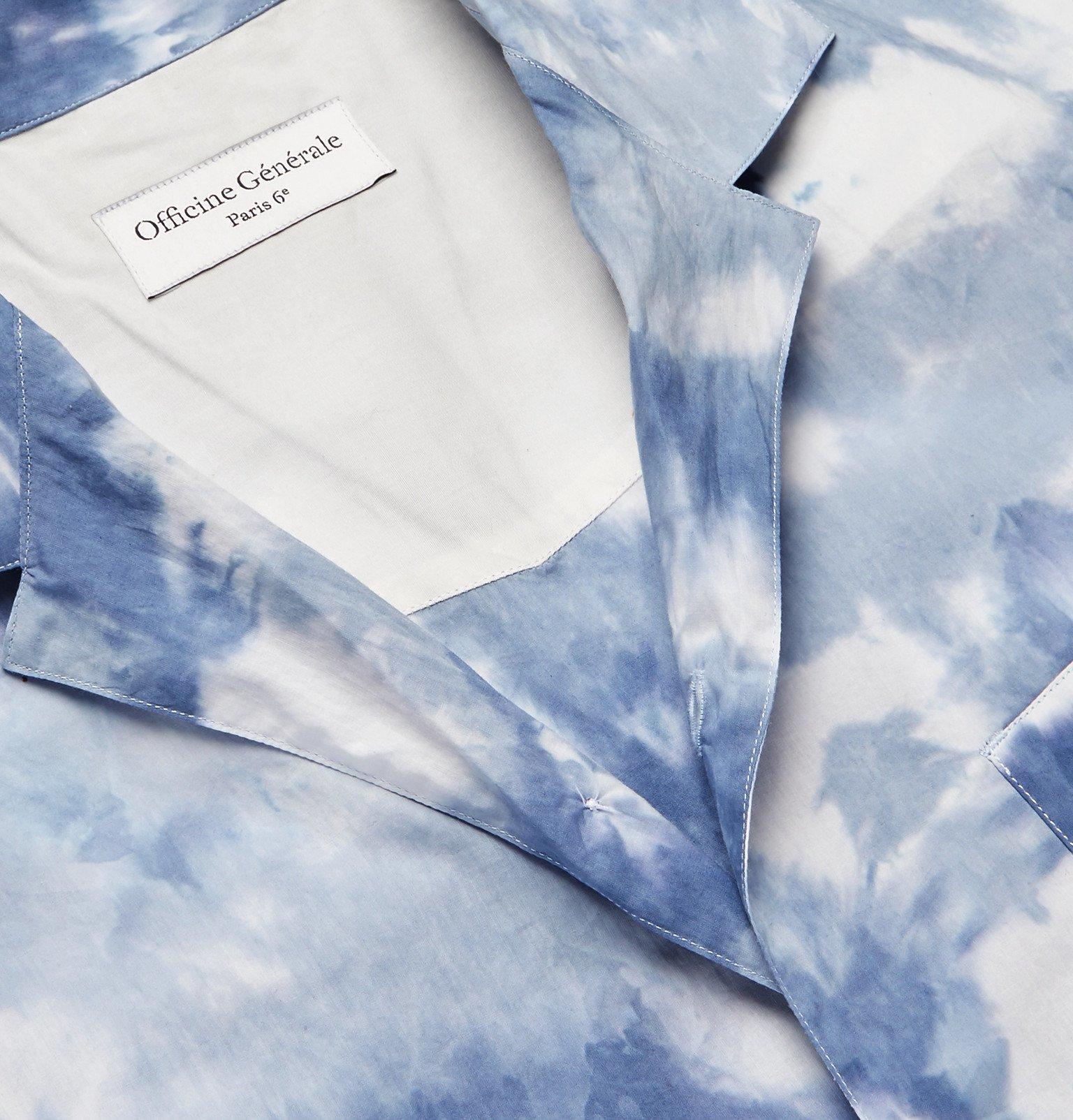 Officine Generale - Dario Slim-Fit Camp-Collar Tie-Dyed Cotton Shirt - Blue