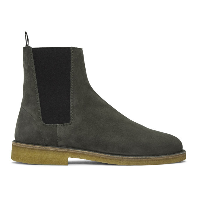Photo: Saint Laurent Grey Suede Nevada Boots