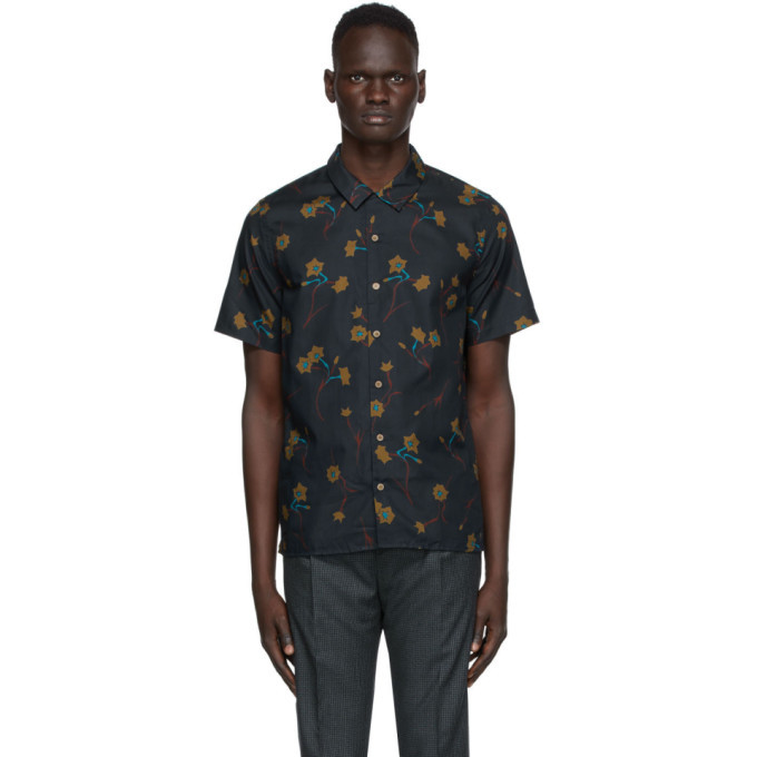 Photo: PS by Paul Smith Navy Floral Casual Short Sleeve Shirt