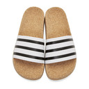 adidas Originals White Adilette Cork Slide Sandals
