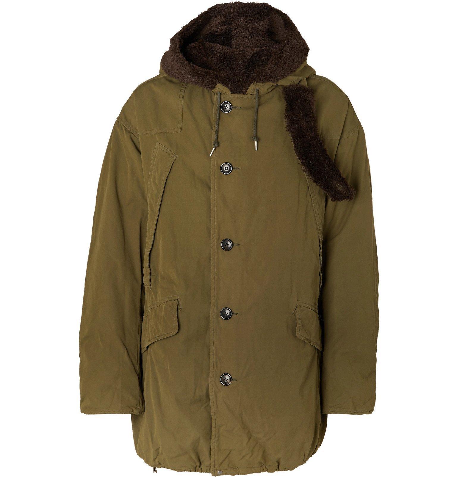 Photo: visvim - Wright Fleece-Trimmed Padded Cotton-Blend Parka - Green