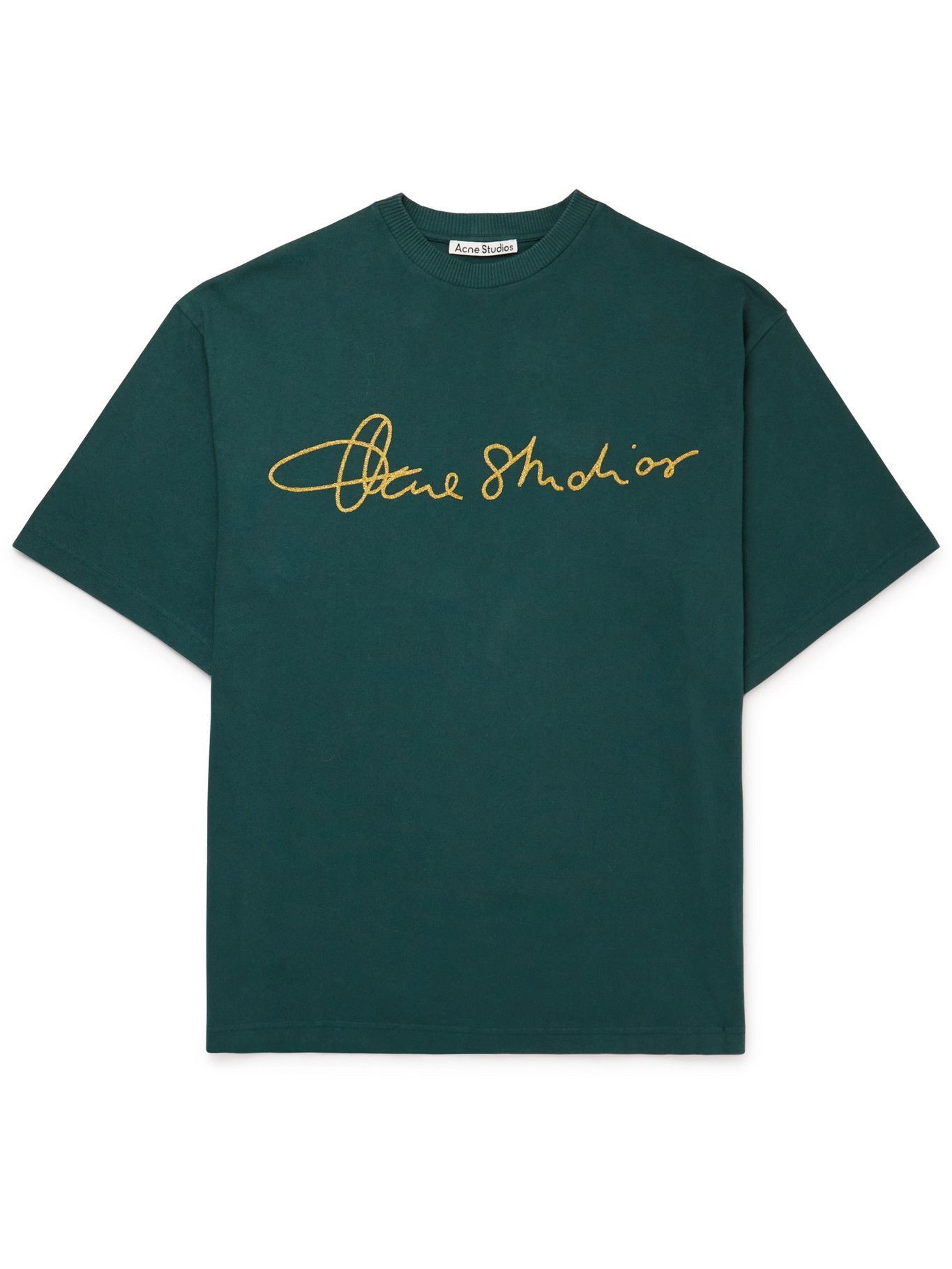 Photo: Acne Studios - Oversized Logo-Embroidered Organic Cotton-Jersey T-Shirt - Green