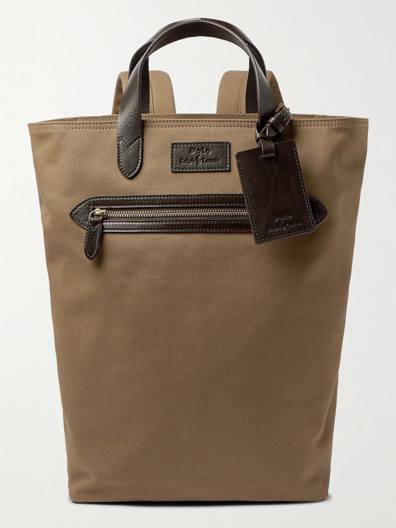 Photo: POLO RALPH LAUREN - Leather-Trimmed Canvas Backpack - Brown