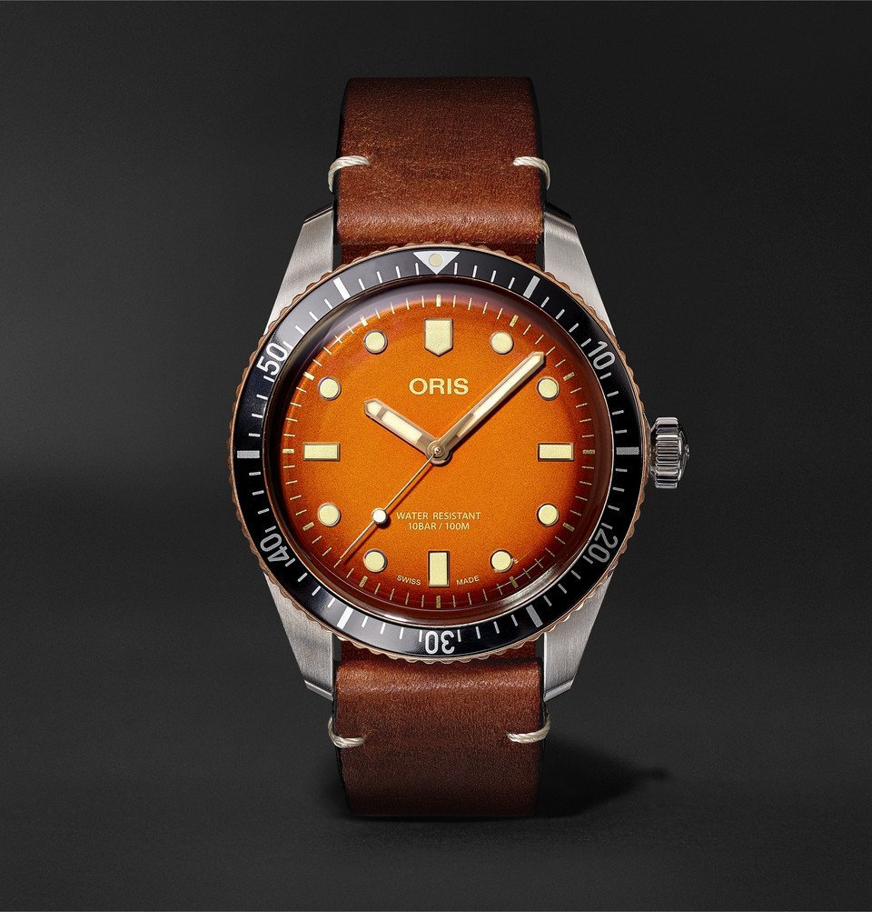 Photo: Oris - Revolution Divers Sixty-Five Honey Automatic 40mm Stainless Steel and Leather Watch - Orange