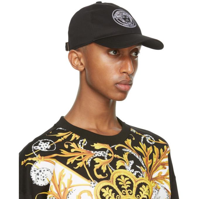 Versace Black and White Medusa Cap