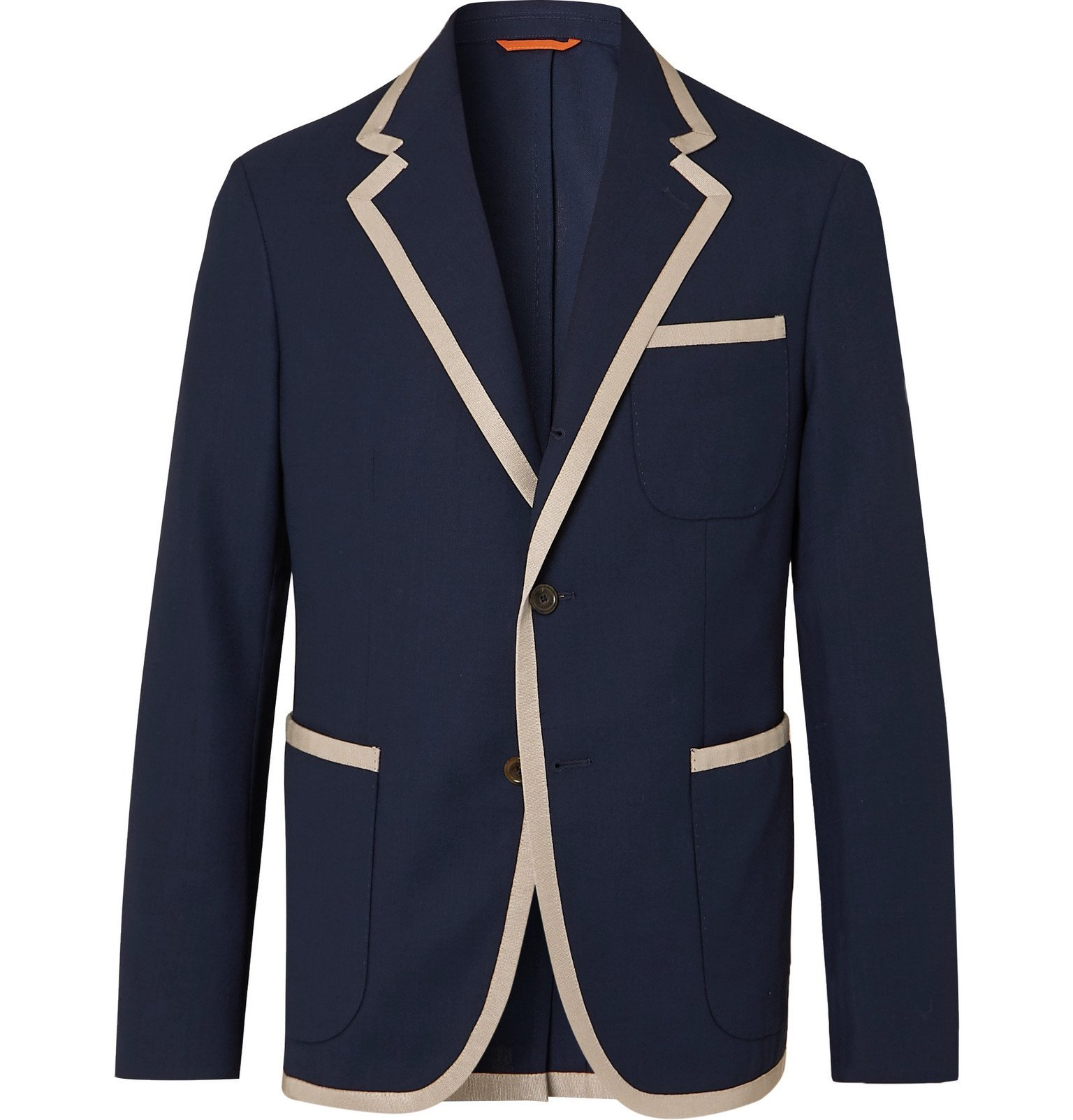 Photo: Tod's - Unstructured Contrast-Tipped Virgin Wool Blazer - Blue