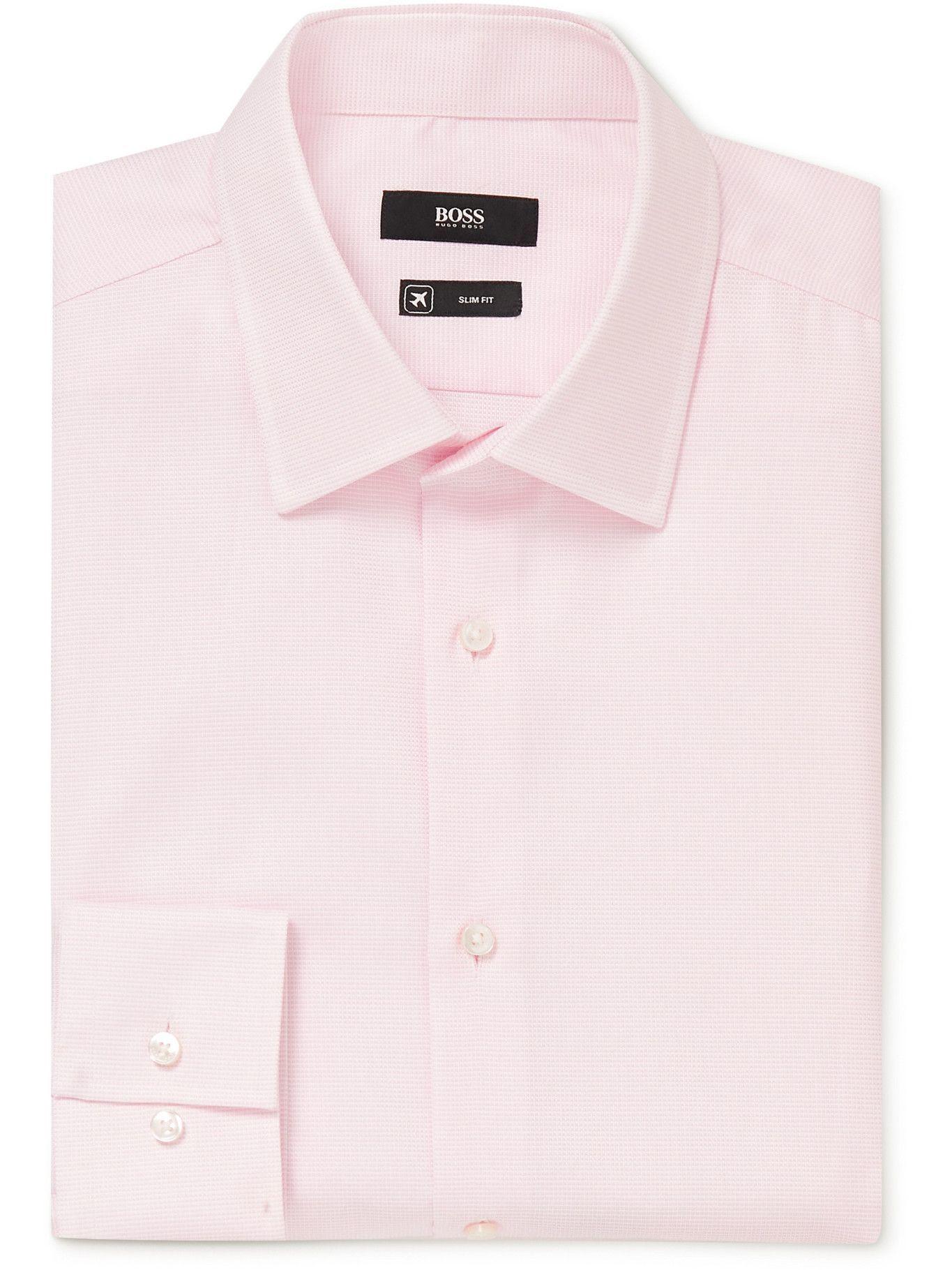 HUGO BOSS - Jango Slim-Fit Cotton-Piqué Shirt - Pink