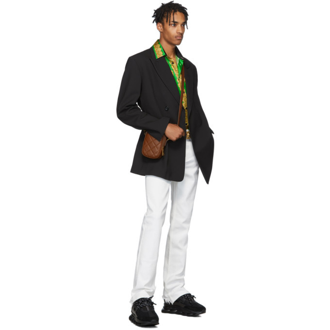 Versace Green and Blue Silk Barocco Homme Shirt