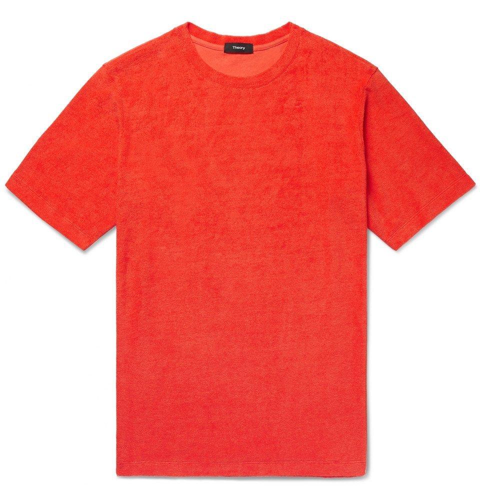 Photo: Theory - Structure Pima Cotton-Terry T-Shirt - Bright orange
