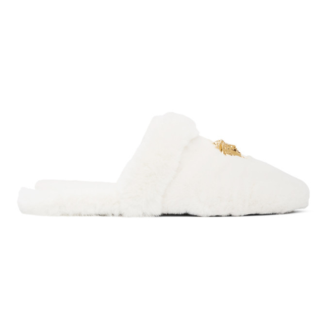 Photo: Versace White Faux-Fur Palazzo Slippers