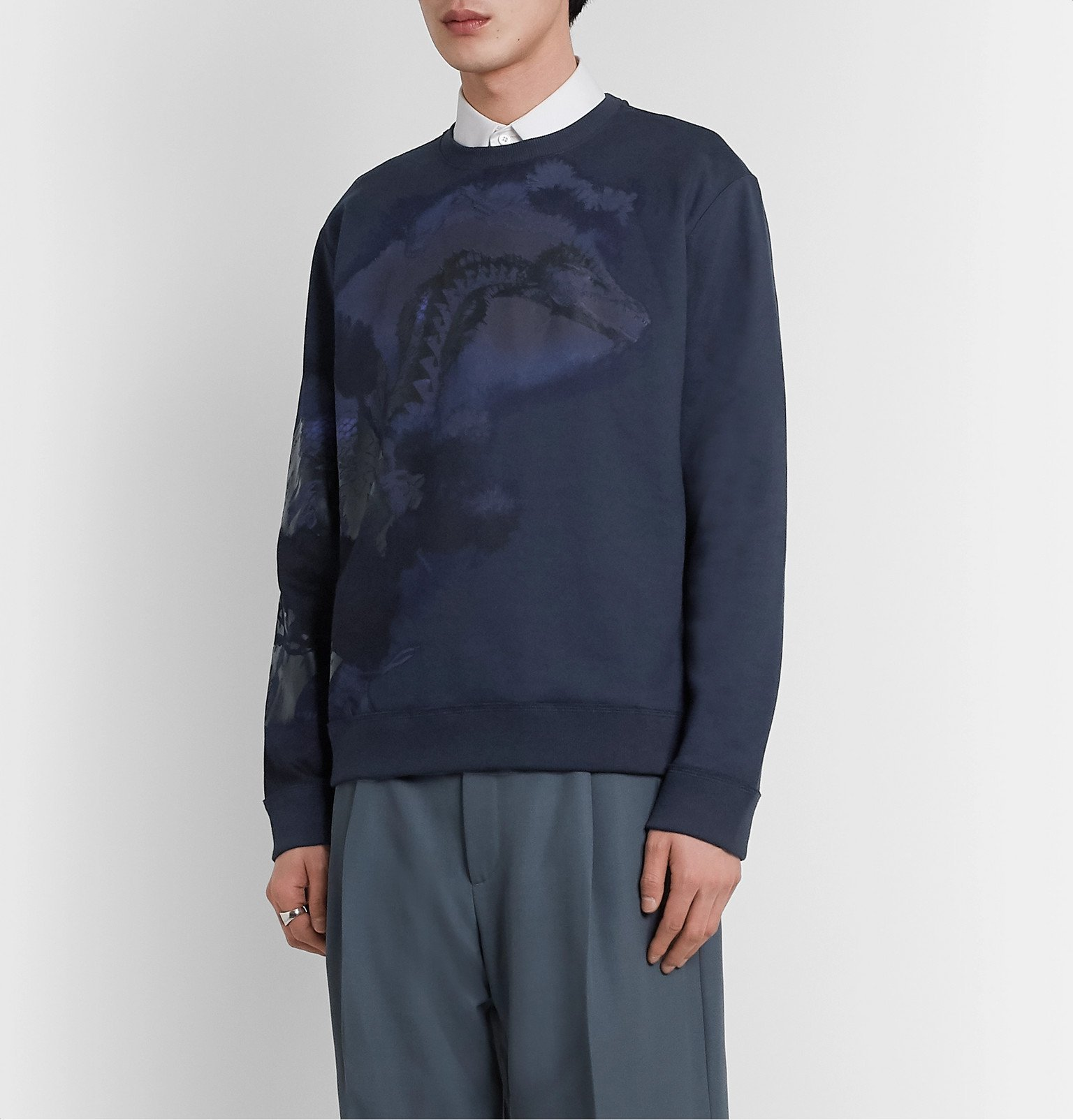 Valentino - Printed Loopback Cotton-Blend Jersey Sweatshirt - Blue