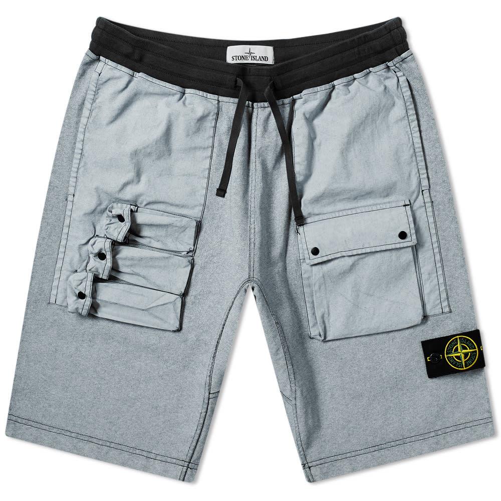 Photo: Stone Island Tela Plated Chalk Pocket Shorts Black
