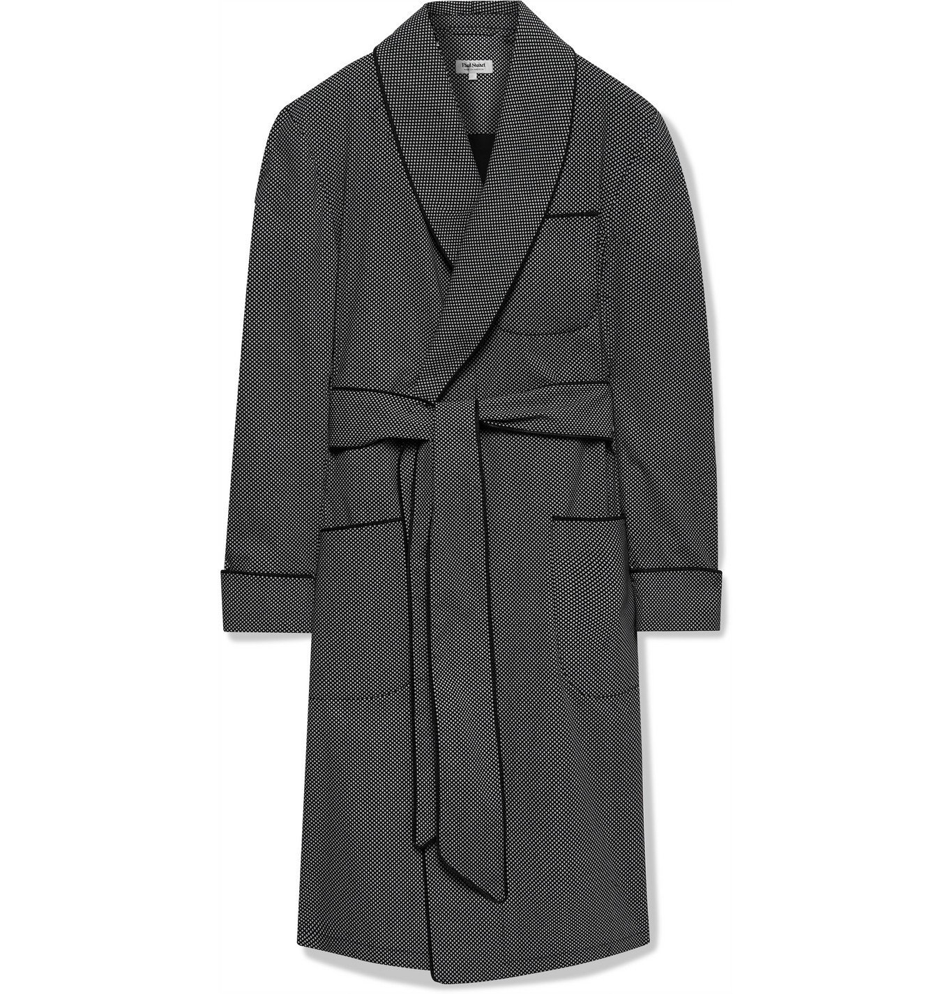 Photo: PAUL STUART - Piped Printed Cotton Robe - Black