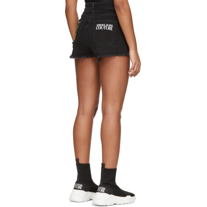 Versace Jeans Couture Black Denim Tropical Patch Shorts