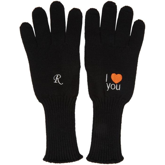 Photo: Raf Simons Black Embroidered I Love You Gloves