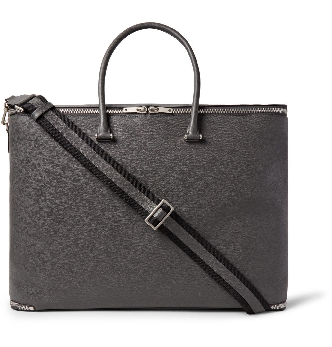 Photo: Valextra - Versatile Pebble-Grain Leather Holdall - Gray