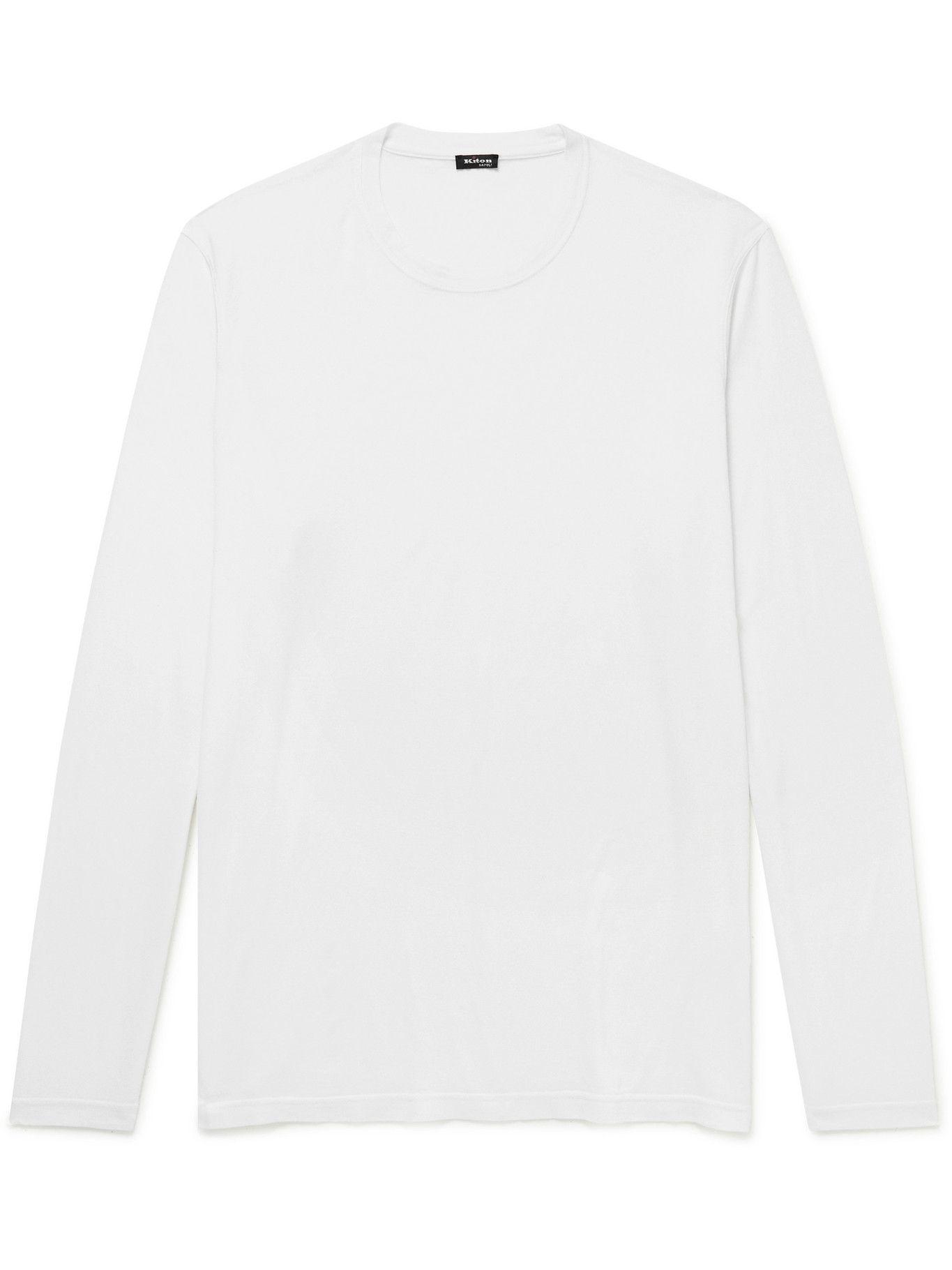 Photo: Kiton - Cotton and Cashmere-Blend Jersey T-Shirt - White