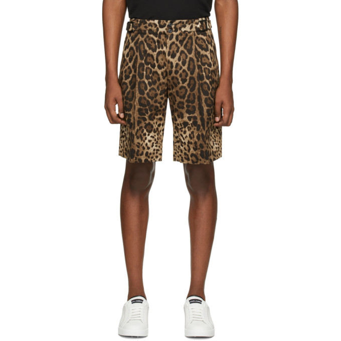 Photo: Dolce and Gabbana Brown Leopard Bermuda Shorts