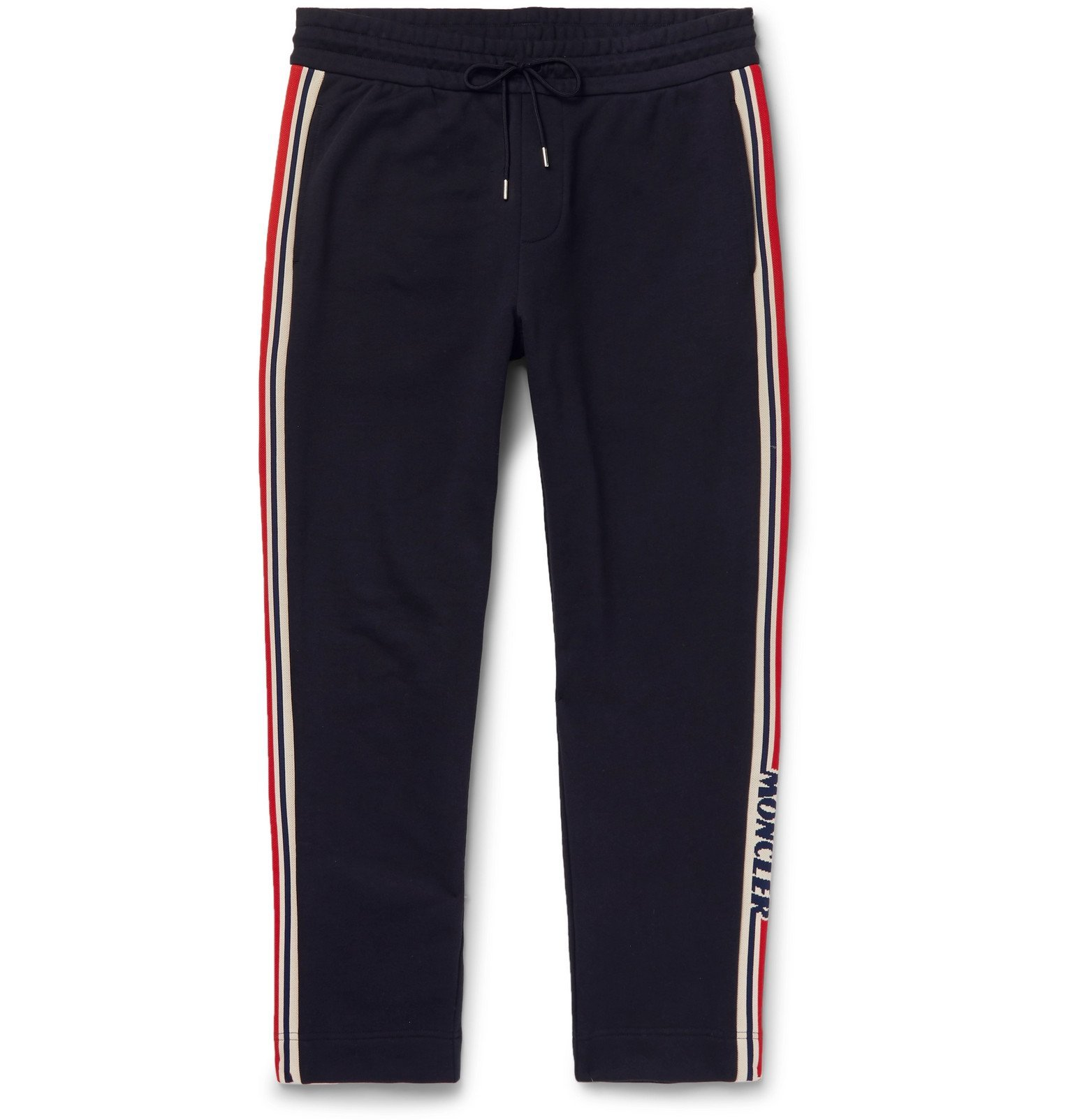 Photo: Moncler - Slim-Fit Grosgrain-Trimmed Loopback Cotton-Jersey Track Pants - Blue