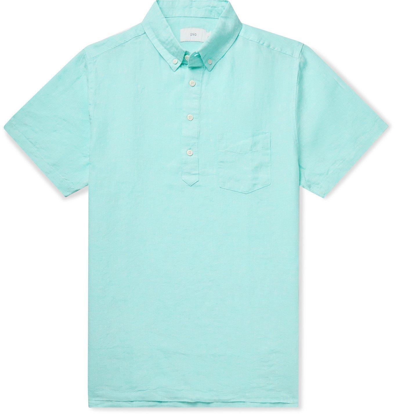 Photo: Onia - Josh Button-Down Collar Linen Shirt - Blue