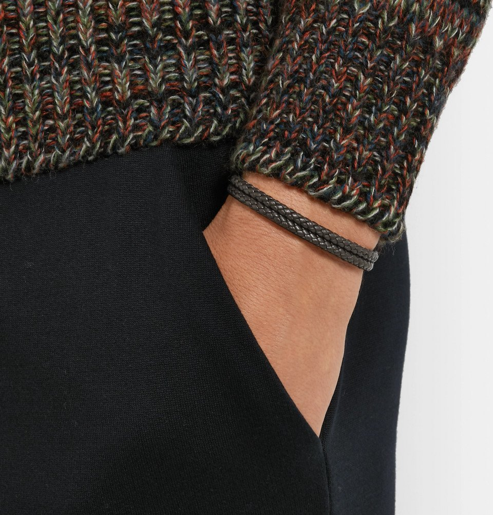 Bottega Veneta - Intrecciato Leather and Oxidised Silver-Tone Bracelet - Men - Dark brown