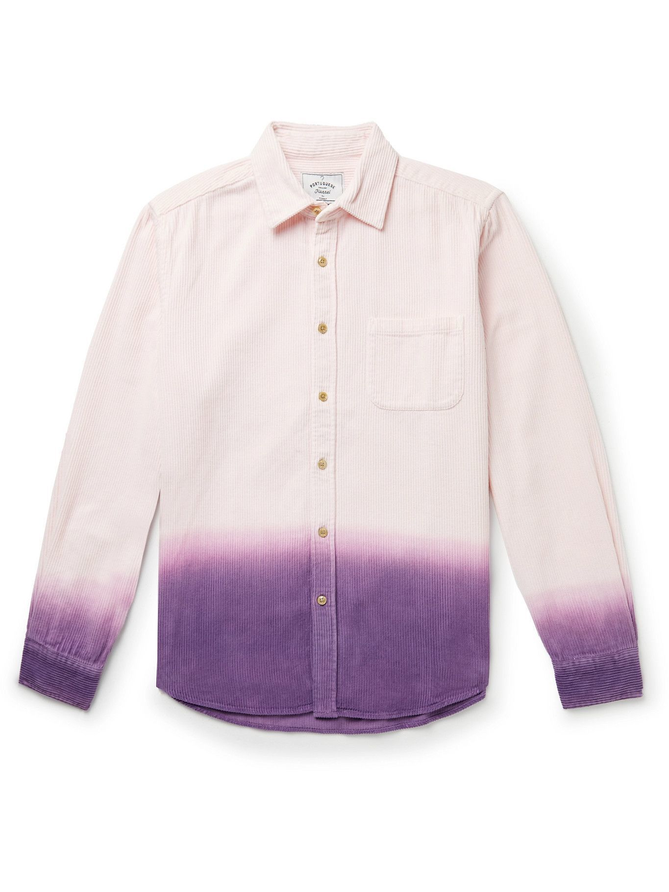 Photo: Portuguese Flannel - Dip-Dyed Cotton-Corduroy Shirt - Pink