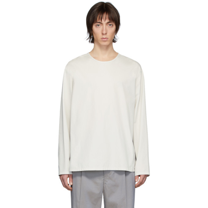 Photo: Lemaire Off-White Poplin Long Sleeve T-Shirt