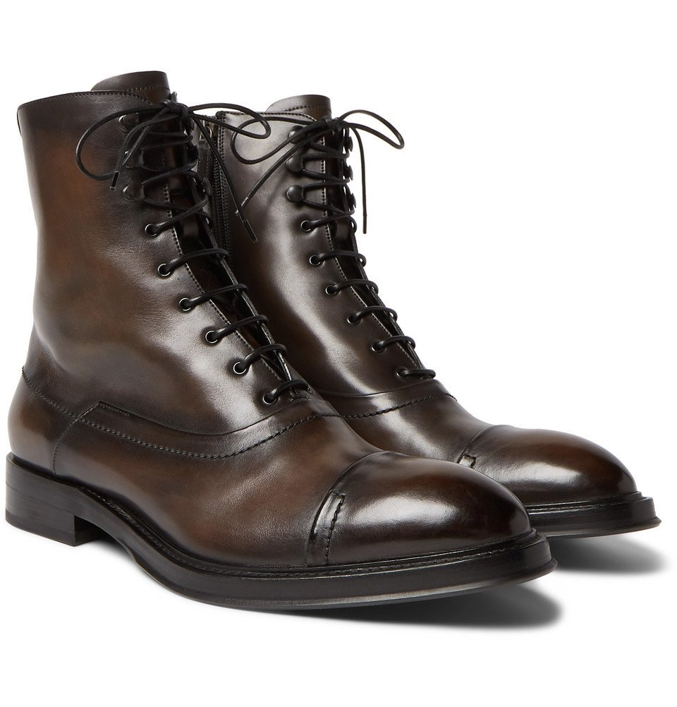 Photo: Berluti - Shearling-Lined Leather Boots - Men - Brown