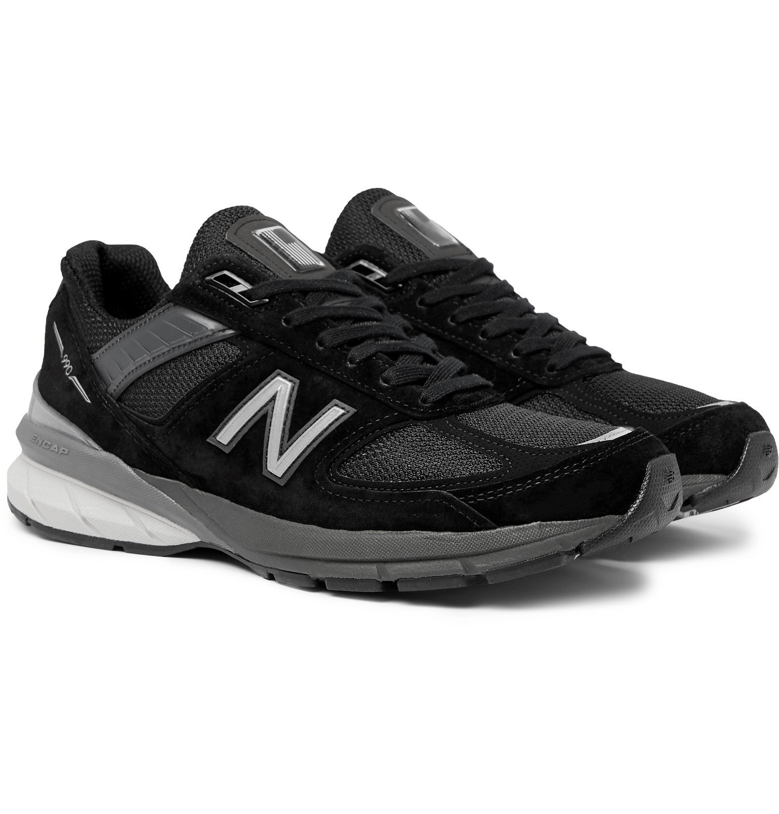 Photo: New Balance - M990V5 Suede and Mesh Sneakers - Black