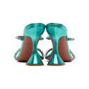 Amina Muaddi Blue Metallic Gilda Heels