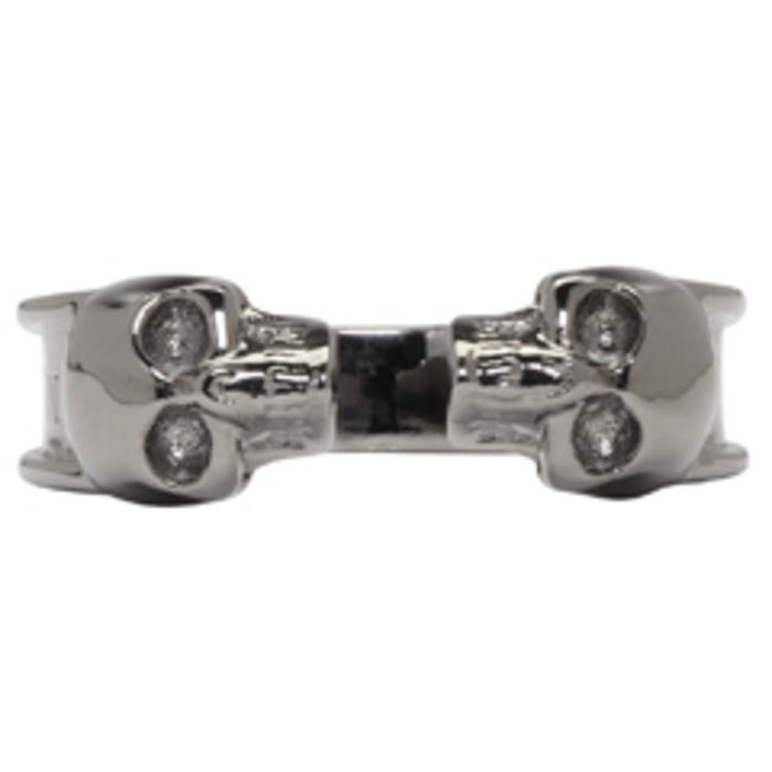 Photo: Alexander McQueen Gunmetal Thin Twin Skull Ring