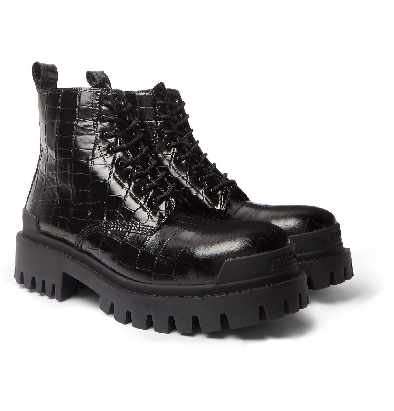Photo: Balenciaga - Strike Croc-Effect Leather Boots - Black