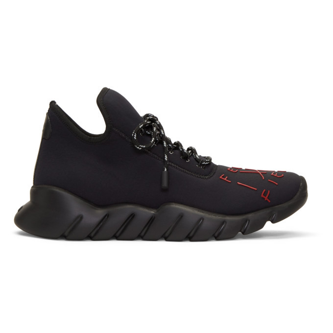 Photo: Fendi Black and Red Fiend High-Top Sneakers