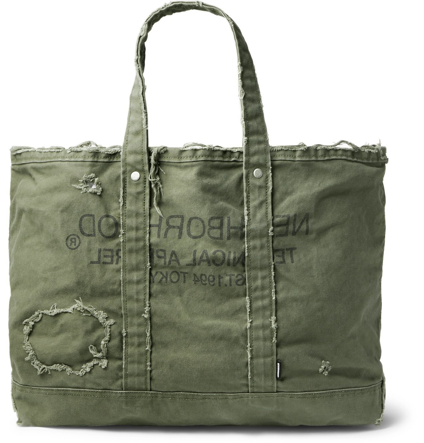 Photo: Neighborhood - Damage Logo-Print Distressed Cotton-Canvas Tote - Green