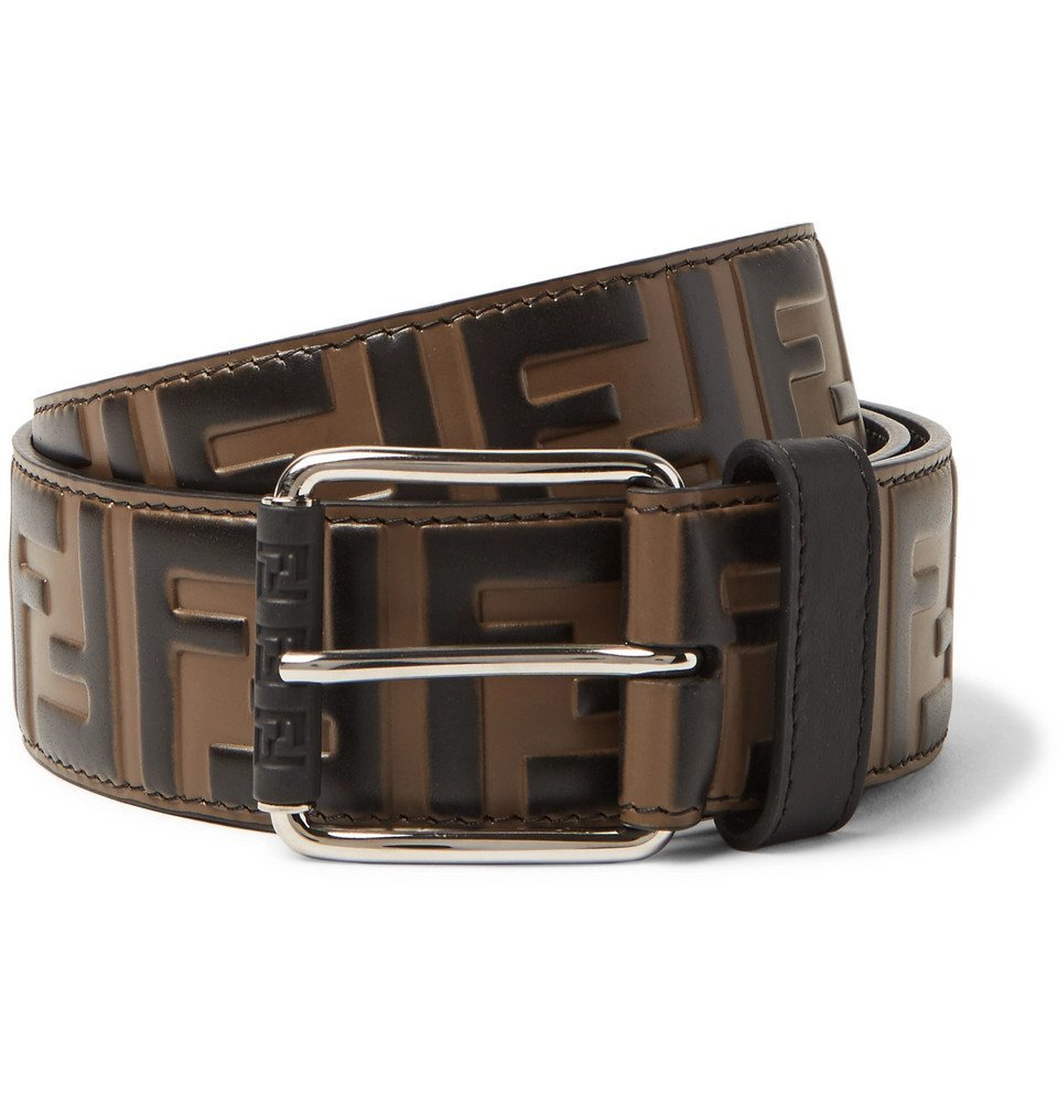 Photo: Fendi - 4cm Brown Logo-Embossed Leather Belt - Brown