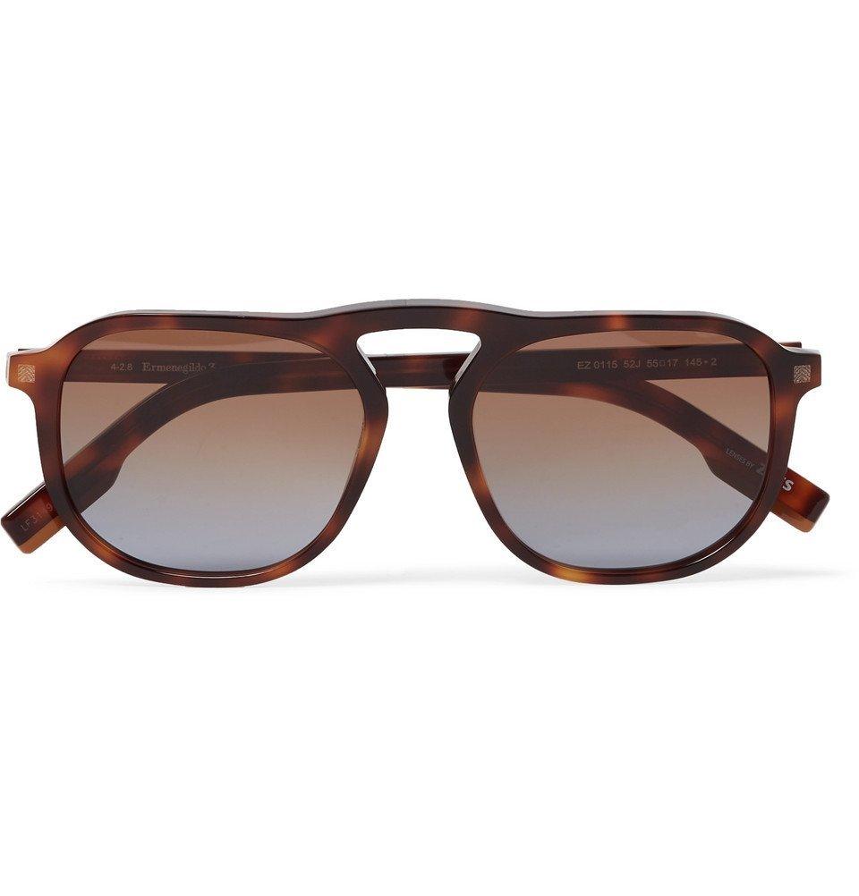 Photo: Ermenegildo Zegna - Aviator-Style Tortoiseshell Acetate Sunglasses - Tortoiseshell