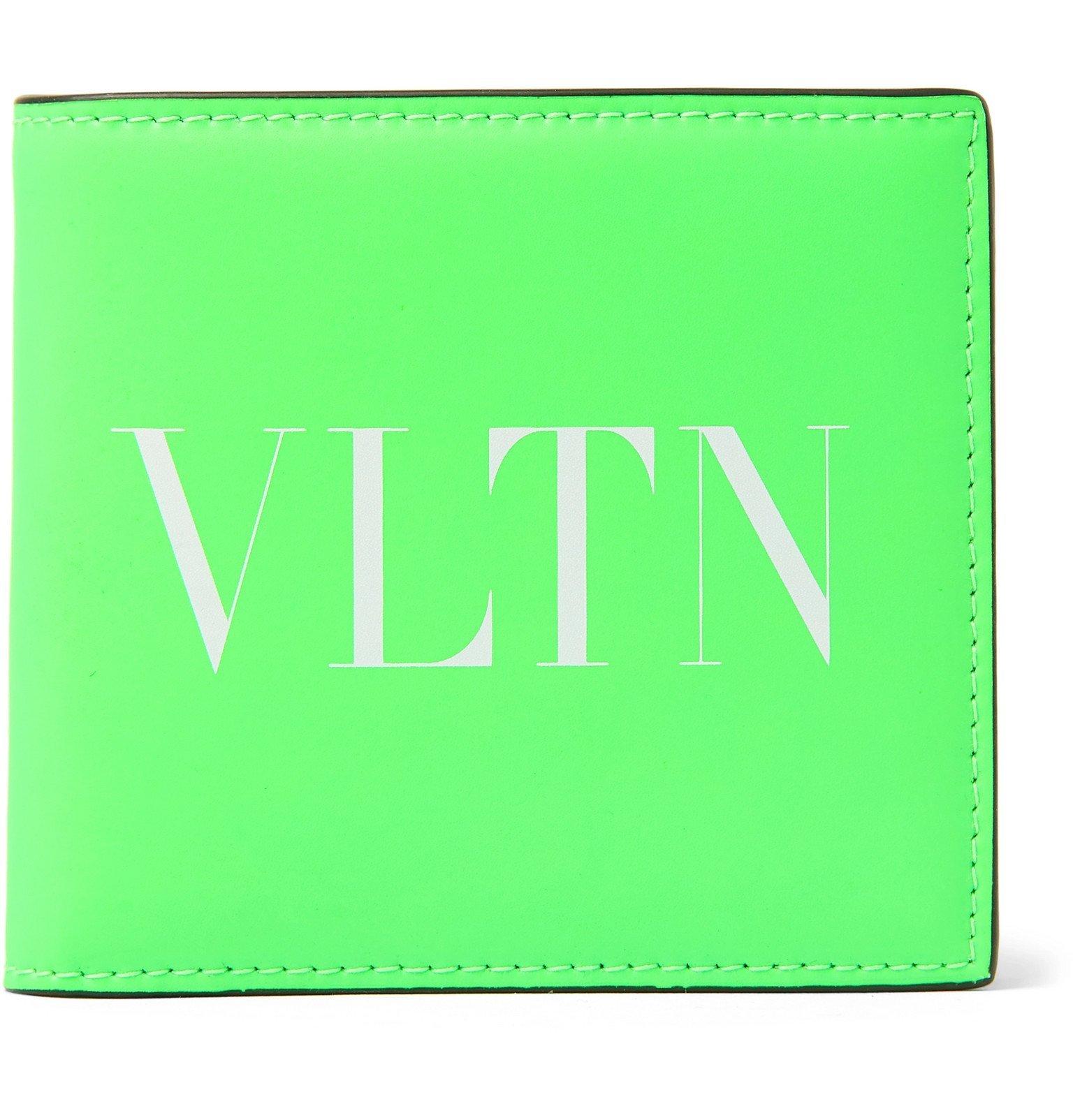 Photo: Valentino - Valentino Garavani Logo-Print Neon Leather Billfold Wallet - Green