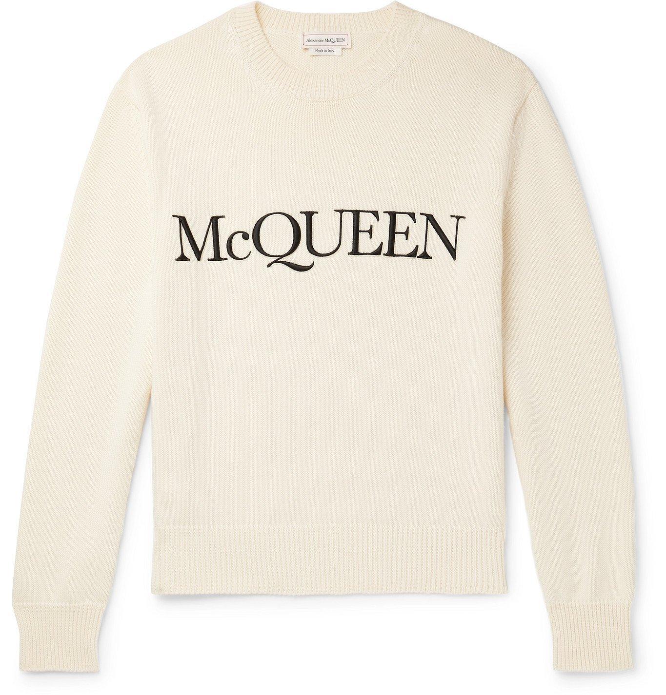 Photo: ALEXANDER MCQUEEN - Logo-Embroidered Cotton Sweater - Neutrals