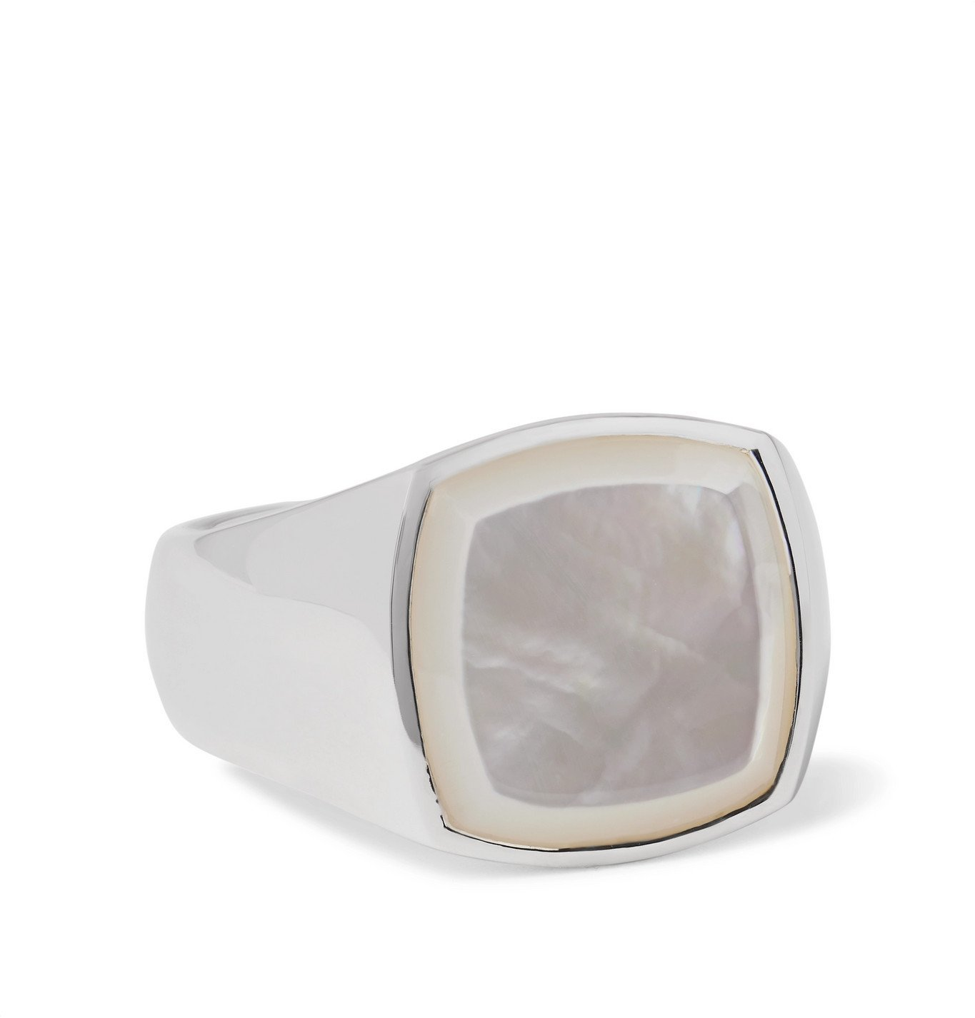 Photo: Tom Wood - Sterling Silver Mother-of-Pearl Signet Ring - Silver