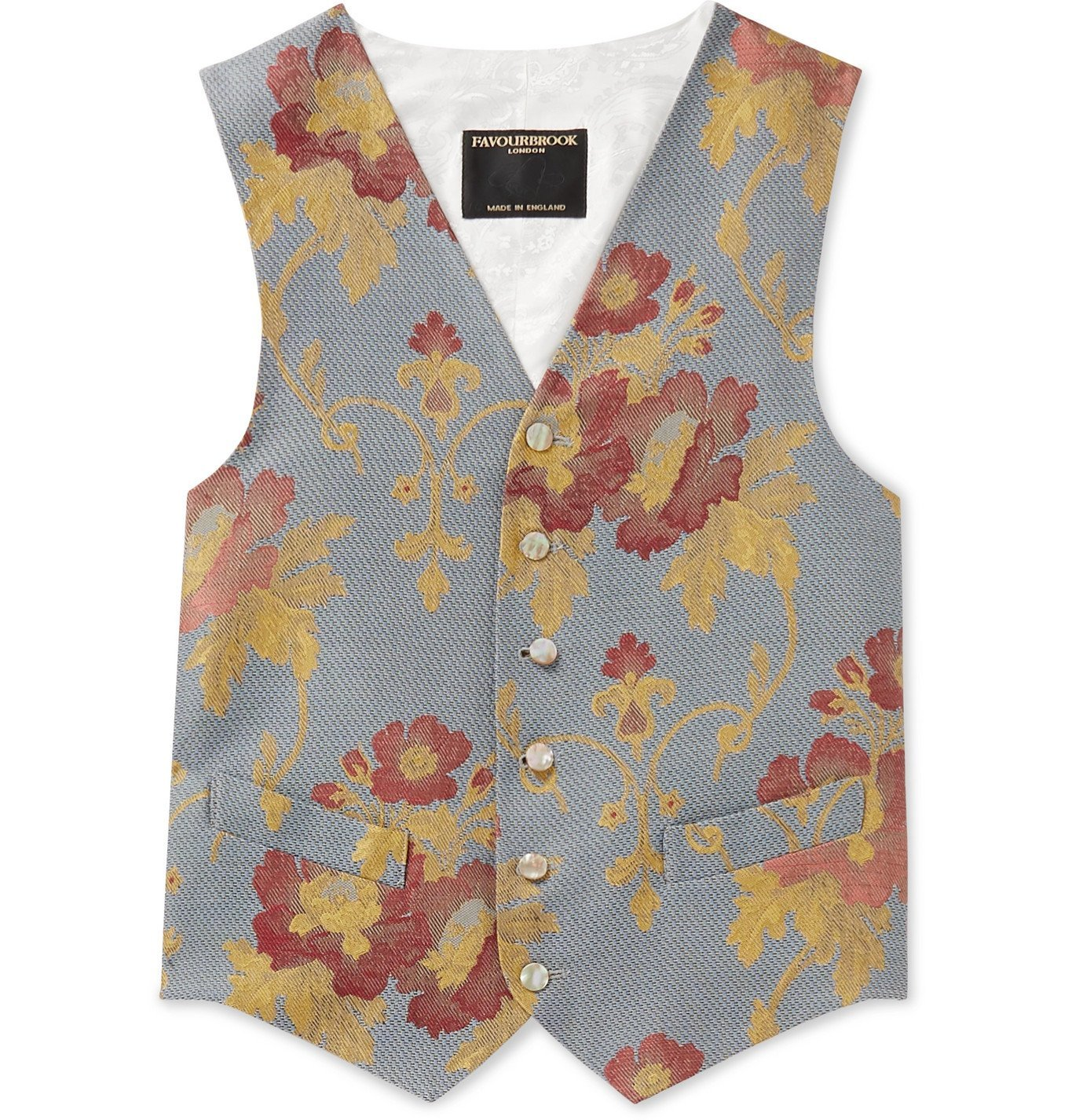 Photo: Favourbrook - Belvoir Cotton, Wool and Silk-Blend Jacquard Waistcoat - Blue
