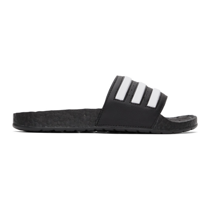 Photo: adidas Originals Black and White Adilette Boost Slides