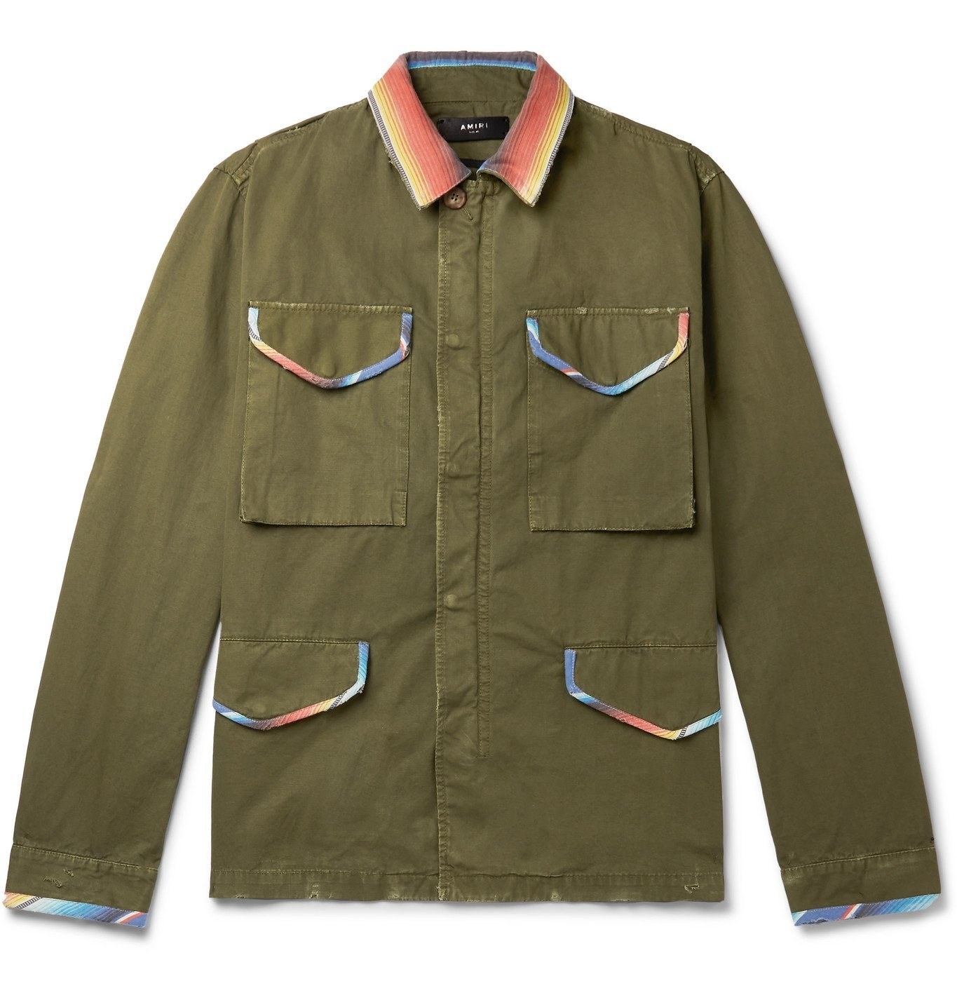 Photo: AMIRI - Distressed Cotton-Canvas Overshirt - Green