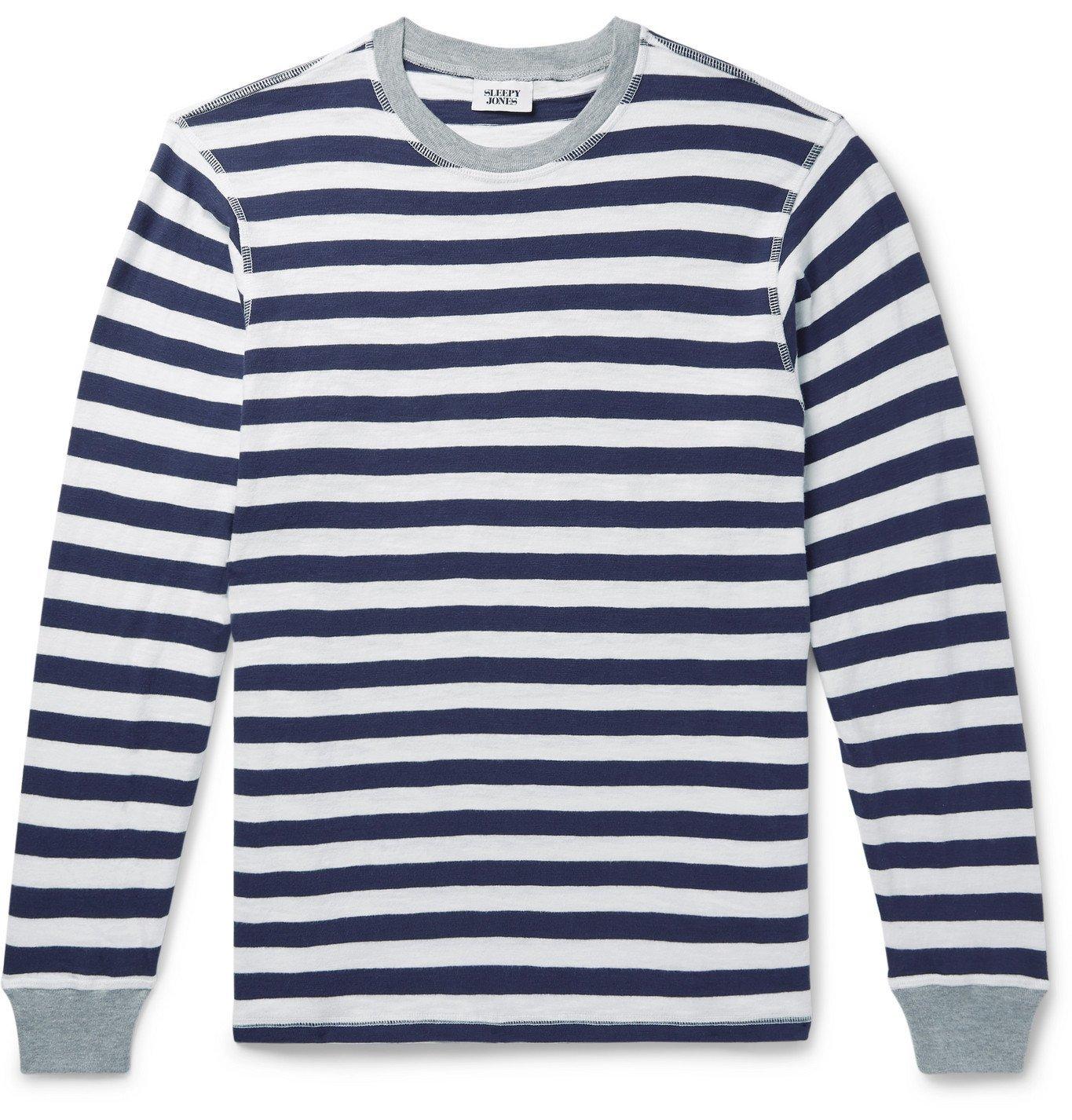 Photo: Sleepy Jones - Keith Striped Cotton-Jersey Pyjama T-Shirt - Blue